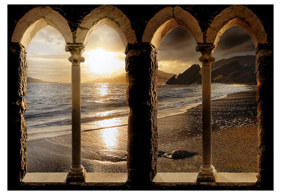 Fototapeet castle on the beach for Fotomurali leroy merlin